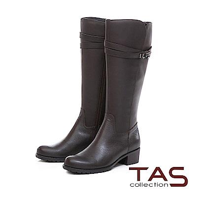 TAS 交叉金屬皮帶扣素面壓紋牛皮長靴-可可咖