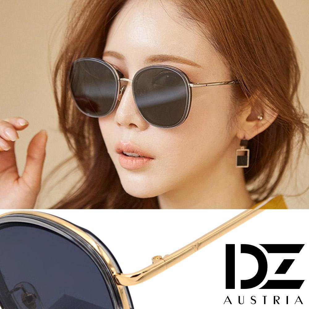【2件59折】DZ 潮人層圓框 抗UV防曬太陽眼鏡墨鏡(金框深灰片)
