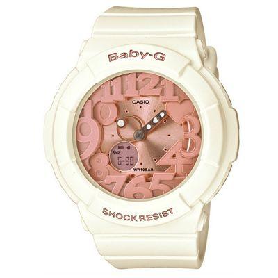 BABY-G 夢幻氣息立體霓虹時刻休閒錶(BGA-131-7B2)-象牙白x玫瑰金/43.4mm