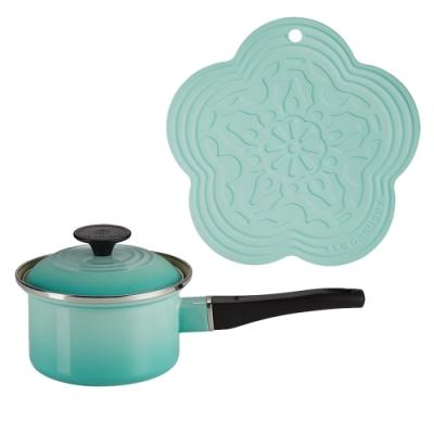 LE CREUSET 琺瑯醬汁鍋14cm(薄荷綠)+耐熱矽膠花型隔熱墊(薄荷綠)