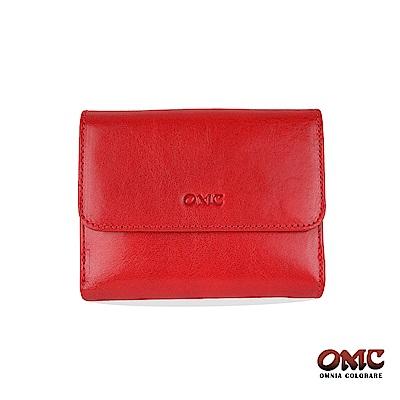 OMC 原皮系列-植鞣牛皮壓扣5卡透明窗雙格層零錢短夾-紅色