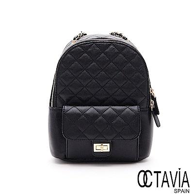 OCTAVIA8 真皮 -  亮晶晶  菱格珍珠牛皮二用後背包 - 閃閃大黑