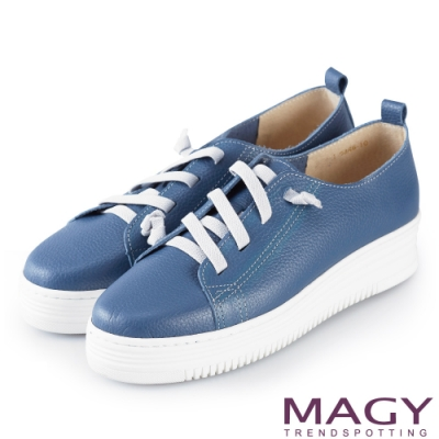 MAGY 樂活休閒 素面鬆緊帶牛皮厚底休閒鞋-藍色