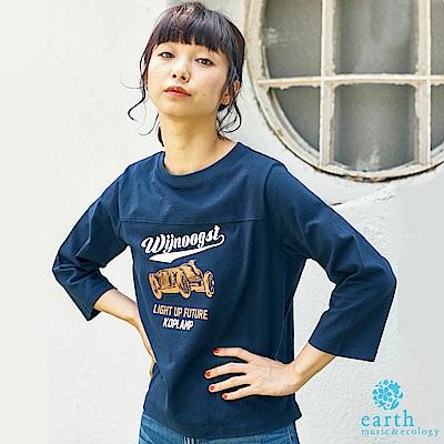 earth music 復古圖案打印長袖T恤
