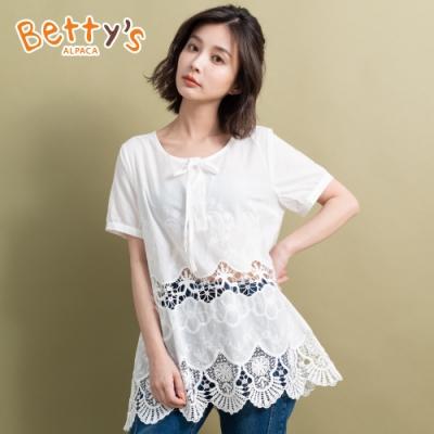 betty's貝蒂思 蕾絲縷空透膚上衣(白色)