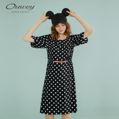 OUWEY歐薇 復古波點織帶拼接洋裝(黑)
