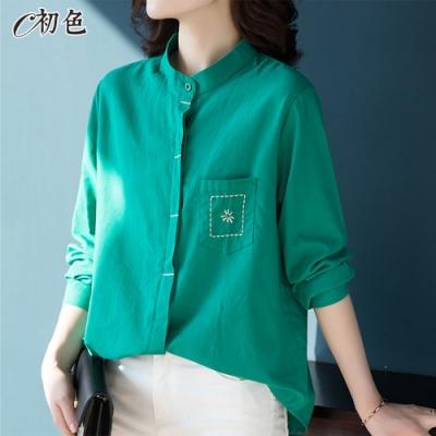 初色  刺繡圓領襯衫-共3色-(L-2XL可選)