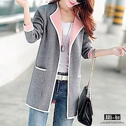 Jilli~ko 雙色裏針織開衫外套-灰色