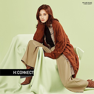 H:CONNECT 韓國品牌 女裝- 簡約後鬆緊寬褲-卡其色