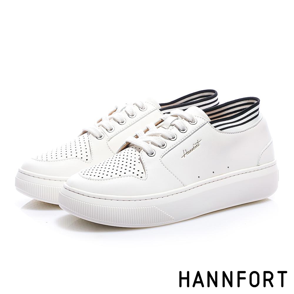 HANNFORT CAMPUS PLATFORM 優質皮感厚底休閒鞋-女-白