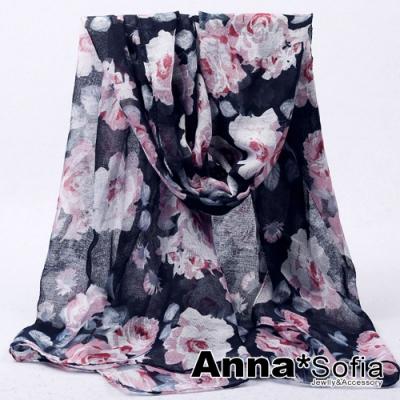 【2件450】AnnaSofia 薔薇花媛 巴黎紗披肩圍巾(藏藍系)