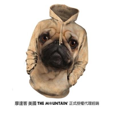 摩達客 美國進口The Mountain 巴哥犬臉 長袖連帽T恤