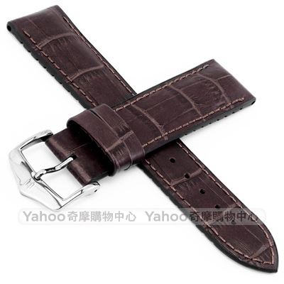 海奕施 HIRSCH Paul L 橡膠複合式小牛皮錶帶-深棕