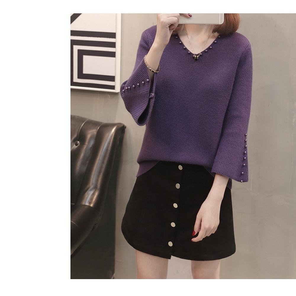 2F-韓系V領珍珠造型針織衫-紫-L