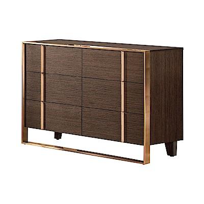 文創集 希亞德時尚3.6尺雙色六斗櫃/收納櫃-109x42x75.5cm免組