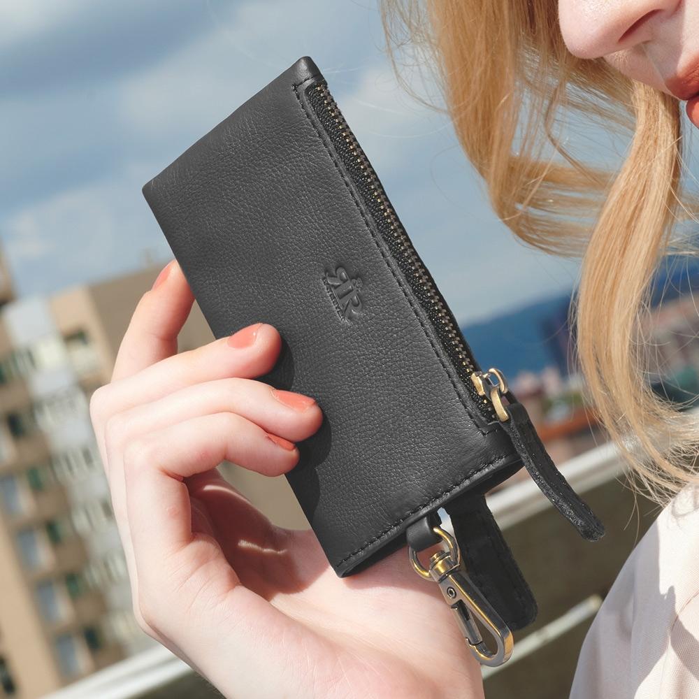 2R 頭層牛皮Assin手感零錢鑰匙包 經典黑