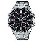 EDIFICE多層次空間感賽車概念數位雙顯計時腕錶(EFV-C100D-1)黑面46mm