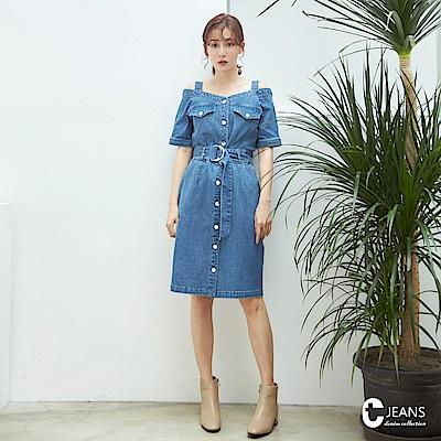 CANTWO JEANS時髦平口單寧排釦洋裝-牛仔藍