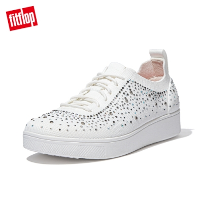 FitFlop RALLY OMBER CRYSTAL KNIT SNEAKERS-繫帶休閒鞋 女(都會白)