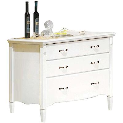 綠活居 吉卡斯法式白3.5尺實木三斗櫃/收納櫃-105x50x77cm免組