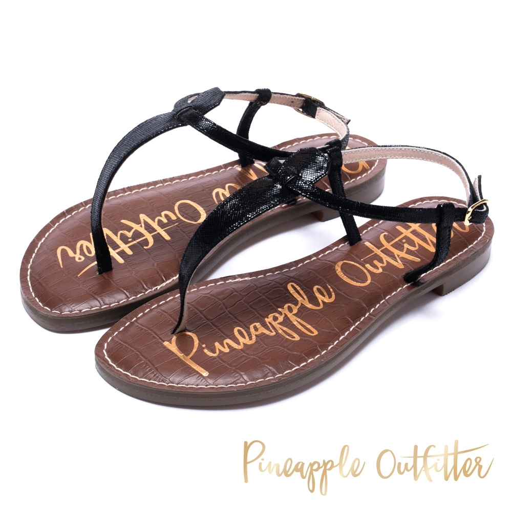 Pineapple Outfitter 經典真皮平底涼鞋-黑色