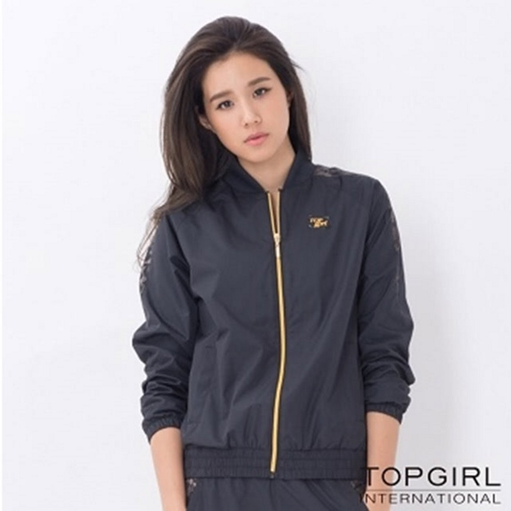 【TOP GIRL】豹紋拼接風衣外套 - 黑色
