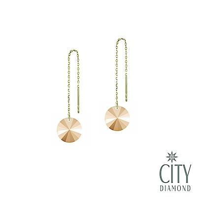 City Diamond引雅【東京Yuki系列】18K極光寶石長型黃K耳環