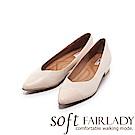 Fair Lady Soft芯太軟 波紋拼接V型尖頭低跟鞋 粉