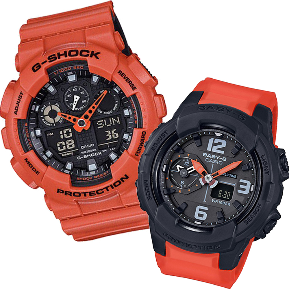 CASIO酷炫雙色個性造型設計休閒運動錶(GA-100L-4A+BGA-230-4B)