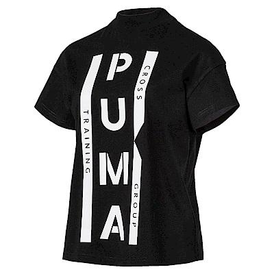PUMA-女性 系列XTG圖樣短袖T恤-黑色-歐規