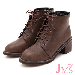 JMS-學院風復古造型綁帶側拉鍊短靴-棕色