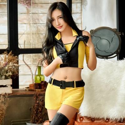 Sexy Cynthia 角色扮演 經典亮黃賽車女郎角色扮演服四件組-黃F