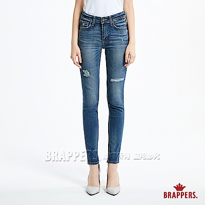 BRAPPERS 女款 新美腳 ROYAL系列-女用中腰彈性窄管褲-藍