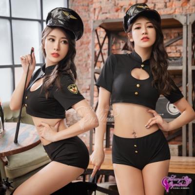 Sexy Cynthia 角色扮演 黑色性感警察角色扮演三件組-黑F