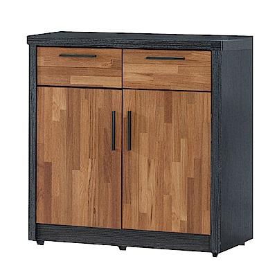 文創集 羅姆時尚2.7尺雙色二門餐櫃/收納櫃-120x40x82cm免組
