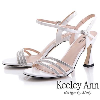 Keeley Ann耀眼新娘 水鑽鞋面細帶造型跟鞋(白色-Ann系列)