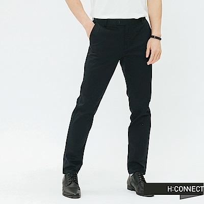 H:CONNECT 韓國品牌 男裝-簡約鈕扣直筒休閒褲-藍