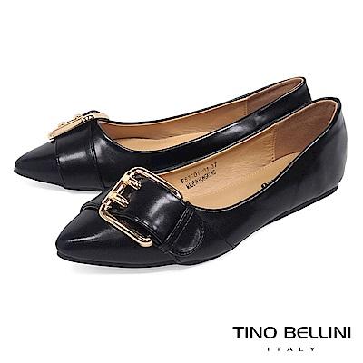 Tino Bellini 雙孔皮帶飾釦尖頭娃娃鞋_ 黑