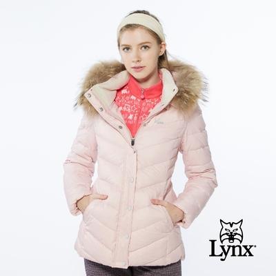 【Lynx Golf】女款防風保暖潑水羽絨晶亮斜紋拉鍊口袋長袖可拆式連帽外套-粉色