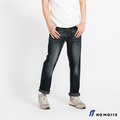 NoMorre 輕薄透氣彈力水洗鐵灰刷色直筒丹寧褲