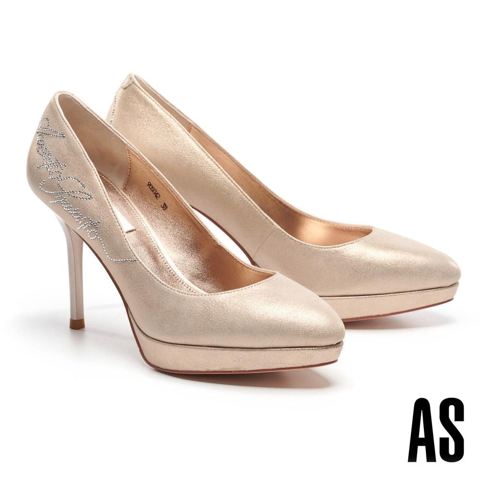高跟鞋 AS 奢華細緻LOGO燙鑽羊麂皮美型尖頭高跟鞋-金