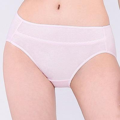 思薇爾 牛奶紗系列M-XXL素面中腰三角內褲(柔粉色)
