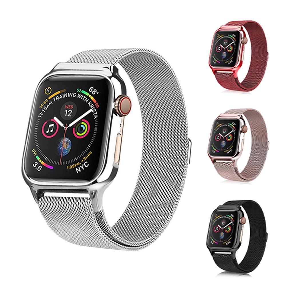 USAMS Apple Watch 5/4 米蘭尼斯磁吸金屬錶帶 送錶殼