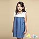 Azio Kids 女童 洋裝 領口袖口蕾絲造型藍色牛仔接片短袖洋裝(藍) product thumbnail 1