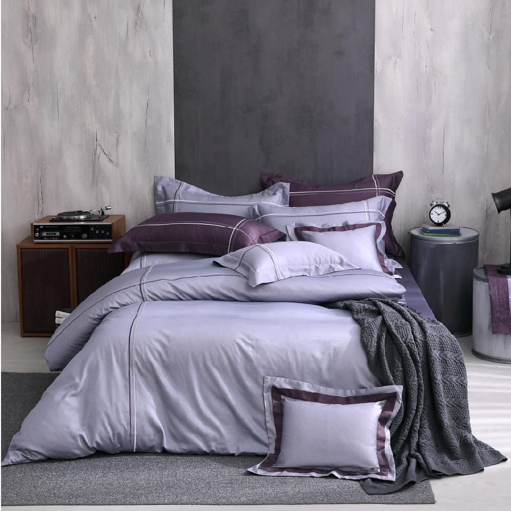 OLIVIA Nicole 加大雙人床包冬夏兩用被套四件組 深紫床包 400織高織紗匹馬棉
