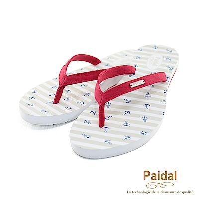 Paidal 海洋風小船錨帆布人字拖海灘拖鞋-紅
