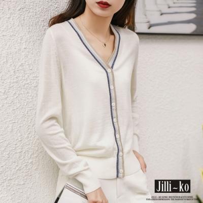 JILLI-KO 薄款撞色V領針織開衫- 白色