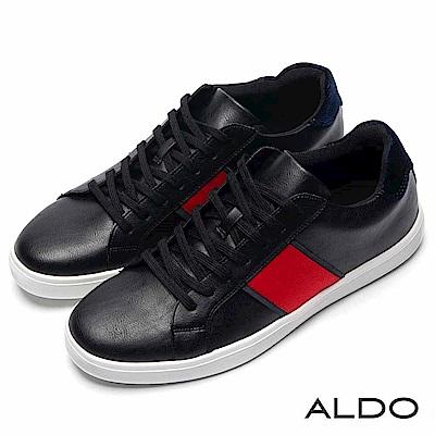 ALDO 原色拼接幾何色塊厚底刻痕綁帶式休閒鞋~尊爵黑色