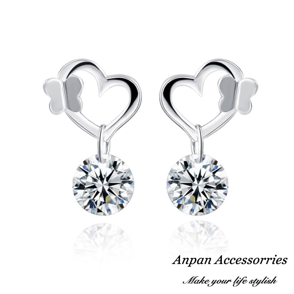 【ANPAN愛扮】S925純銀飾 蝴蝶鏤心鑽石耳釘式耳環