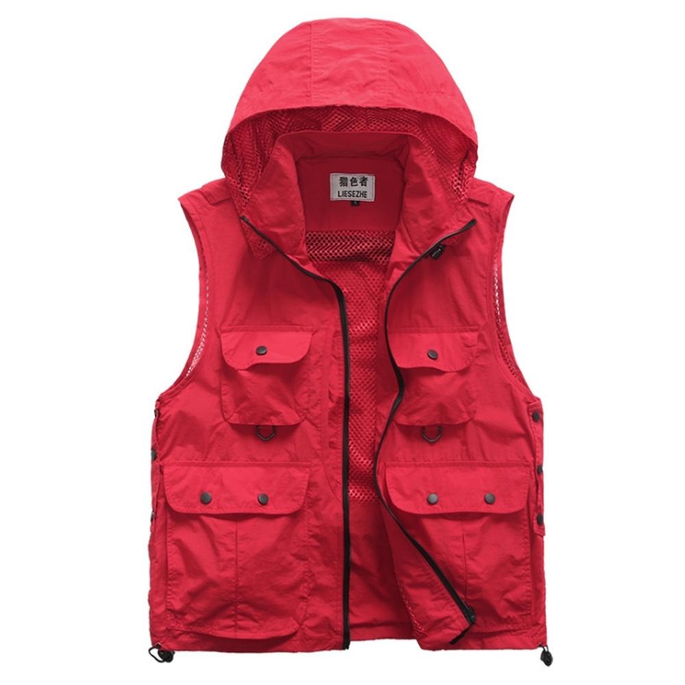 PUSH!機能面料衣可拆卸防風帽背心透氣釣魚攝影背心馬甲F12紅色